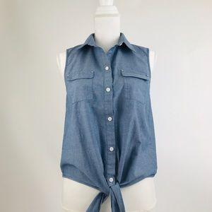 Ann Klein womens sz 10 top blouse shirt chambray